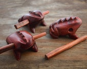 Frog Singer: Frog Wooden Toy, made from reclaimed Pau-Brasil hard wood / Mimics an Amazon Frog singing / Toy, Music Toys, Decoration, Gifts