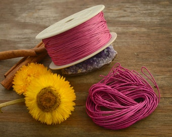 Hot Pink: Braided, Cotton Cord 1mm, 25ft (8.33 yards) / Hot Pink thread / Perfect for Shamballa, DIY Supplies, Cotton Twine, Supplies