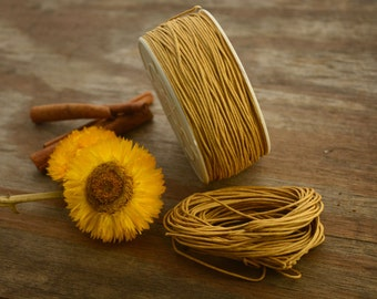 Saffron: Braided, Cotton Cord 1mm, 25ft (8.33 yards)/Natural, Gold thread / Perfect for Shamballa, DIY Supplies, Cotton Twine, Supplies