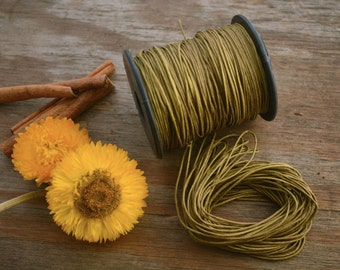 Golden Olive Green: Braided, Cotton Cord 1mm, 25ft (8.33 yards)/Natural, thread/Perfect for Shamballa, DIY Supplies, Cotton Twine, Supplies
