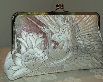 Rhinestones 10inch Frame Crane Clutch/Bag/Purse/Long Island Bride/Wedding Gift/Silk Kimono/Orchid/White/Silver/Blush/Evening/Shrug/Wrap
