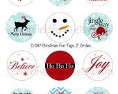Christmas Fun 2 Inch Circles Digital Sheet C-597 for Tags, Scrapbooking, Cupcake Toppers, Gifts