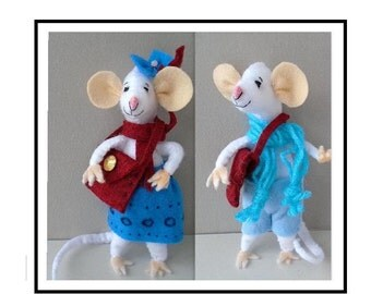 Pdf SEWING PATTERN - Mr. and Mrs. Pussyfoot Felt Mice, Soft Sculpture Stuffed Fiber Art, Plushie Mouse,  plush animal,  Instant Download