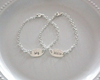 Big Little Sorority Bracelets - Big Sis Little Sis Sterling Silver Bracelets - Sorority Jewelry - Sorority Big Little Gift