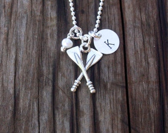 Crew Necklace - Crew Jewelry - Rowing Jewelry - Sterling Silver Oars - Personalized Crew Necklace - Crew Jewelry - Crew Team Gift