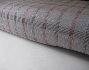 VINTAGE GRAY, red, and black POLYESTER knit fabric, measures 60 inches by 11.5 yards