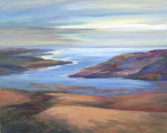 Pacific Ocean Shore, Scenic Ocean View, California Coast, Giclee Art Print, Ocean Inlet, Coast Hills, Seashore Landscape, Oil Painting, 8x10