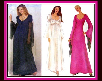 Romantic Goth Empire Waist  Long Gown-Sewing Pattern-Three Stunning Styles-Dramatic Sleeves-Daring Low Cut Bodice-Uncut-Size 12-16-Rare