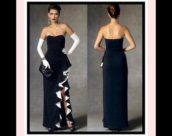 Bombshell Glamour Evening Gown-Vogue Designer Sewing Pattern-BADGLEY MISCHKA-Stunning Cascade Drape Slit-Boned Bodice-Uncut-Size 6-14