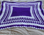 Amazing Afghan Vintage Purple and White Granny Square/ Mile-A-Minute Hand Knit Baby Blanket