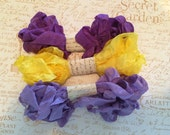 Crinkled Seam Binding 15 Yards, Purple Pansy, Spring Yellow, Light Purple