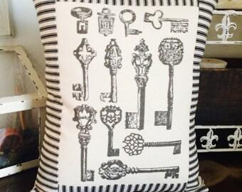 Antique Skeleton Keys Pillow with Black and Off White Ticking Stripe Throw Pillow, Decorative Key Pillow