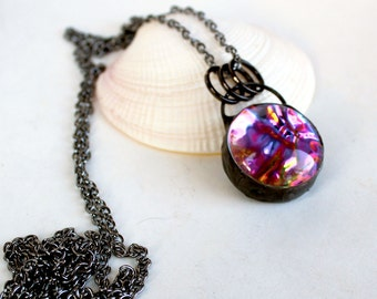OOAK Reversible Dichroic and Mirror Domed Glass Necklace- Stained Glass Jewelry