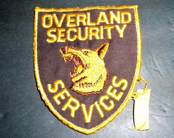 """3 Jacket Patch Overland Security Services Guard Dog German Shepard brown yellow 5 x 4"""" shield"""