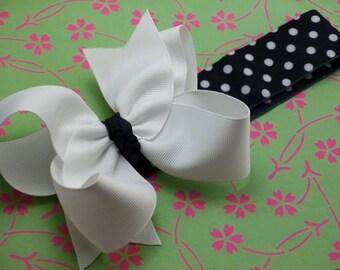 Boutique Baby Toddler Girl Hair Bow NYLON Headband---------Polka Dots------NAVY and WHITE