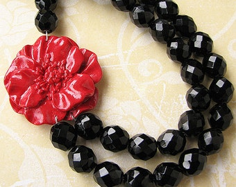 Statement Necklace Beaded Necklace Flower Necklace Black Jewelry Crystal Necklace Red Jewelry Gift For Her