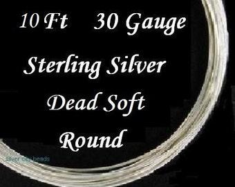 Sterling Silver Wire, 30 g ga gauge, Round Wire,  Dead Soft, 10 feet