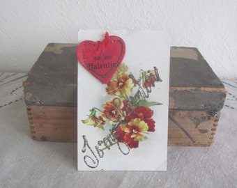 Turn of The Century Valentines Day Post Card with Heart