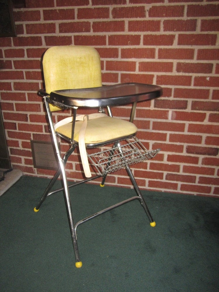 Vintage 1950s Collapsible Metal High Chair With By Funoldstuff
