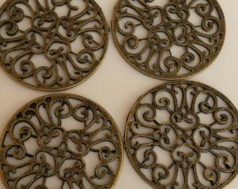 10  - Antique Bronze round filigree Connector, Link, Pendant