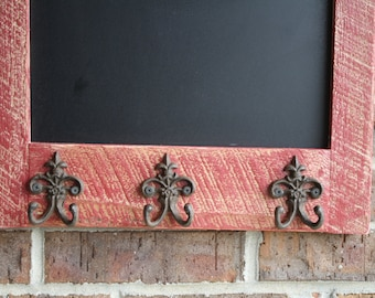 Ready to Ship Red Rustic and Reclaimed Barn Wood Chalkboard With Coat Hooks and FREE SHIPPING