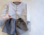 linen shorts and striped tunic