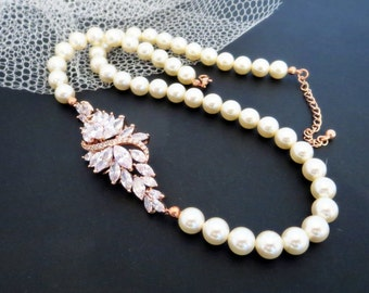 Rose Gold Bridal Necklace, Rose Gold pearl necklace, Bridal jewelry, Wedding necklace, Crystal necklace, Rhinestone necklace, Vintage