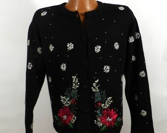 Ugly Christmas Sweater Vintage Cardigan Poinsettias Holiday Tacky Women's size P