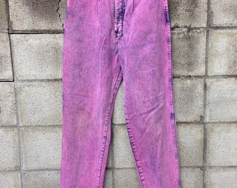 High Waisted Jeans Vintage 1980s Pink Acid Wash Wrangler Denim Waist