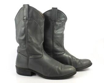Gray Cowboy Boots Vintage 1980s Wrangler Roper Women's size 8 1/2