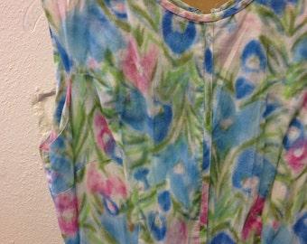 Floral Cotton Dress Vintage 1950s Abstract