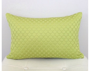 Kiwi Designer Pillow Cover  -Textured Pillow - Lime Green Accent Pillow -Green Throw Pillow