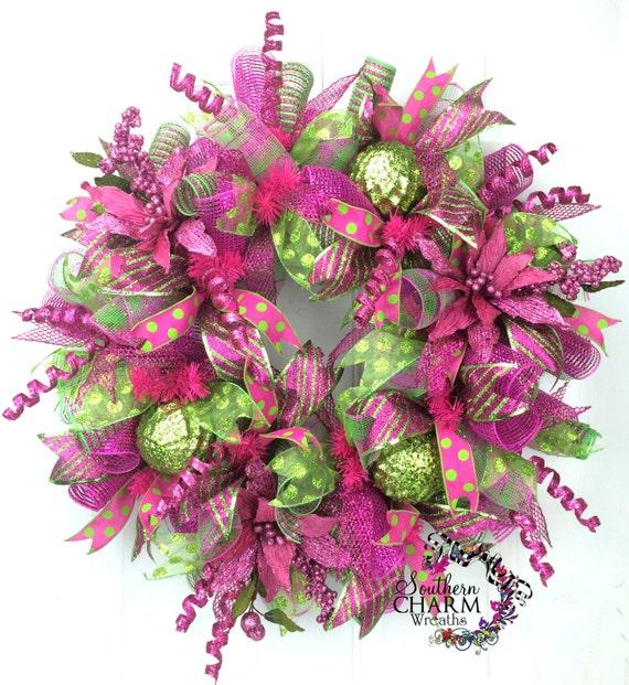 Deco Mesh Christmas Tree Wreath: Deco Mesh Christmas Wreath Lime Green Hot By