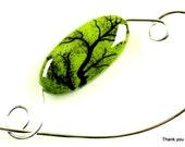 Tree of Life Scarf Pin, Shawl Pin, Jewelry Brooch - Tree of Life Scene Porcelain Bead