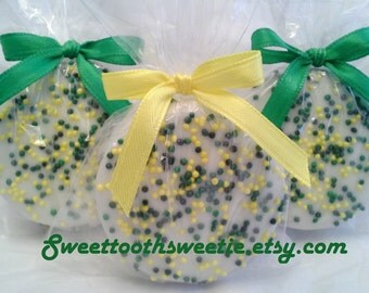 Green and Yellow Chocolate Covered Oreos Cookies Baby Shower Cookies Birthday Party Favors Wedding Favors Yellow Green Favors Edible Treats