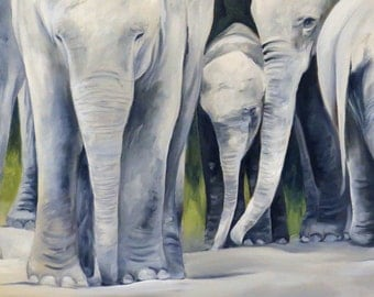 """Large giclee art print of a family of elephants. Panorama 15""""."""