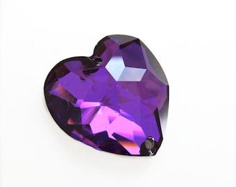 Heliotrope Swarovski Crystal Heart Button - Sew On - 24mm - Purple Heart