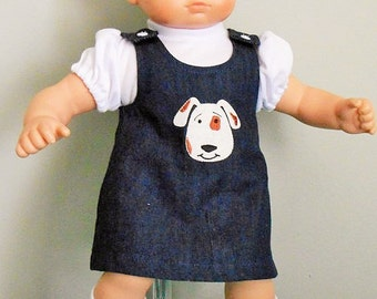 Blue denim dress with dog applique for Bitty Baby