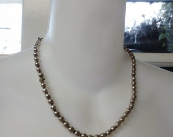 Vintage Sterling Silver Necklace Beaded