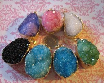 Shop Sale..1 pc, Druzy Quartz Pendant Charm, Gold or Silver Electroplated Drusy, 23-40 mm, u pick.. Pink, White, Blue, Green, ap31.2 dd