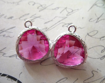 2 pcs / Glass Stone Pendant Charm / Rose Pink / 16x13 mm, Silver or Gold Plated Brass Framed Gemstone /  Wholesale Jewelry Craft GP1.R
