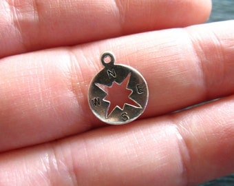 1 5 10 pc, Sterling Silver or 24k Gold Vermeil COMPASS Pendant Charm, 13x10.5 mm, nautical direction journey bridal gifts hobby art