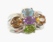 Gemstone Ring, Sterling Silver, Blue Topaz, Amethyst Ring, Citrine, Statement Ring, Size 8, Wide Ring, Multi Stone, Blue Purple Ring, Pastel