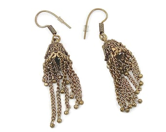 Boho Ethic Dangle, Vintage Earrings, Gypsy Earrings, Tribal Jewelry, Ethnic, Belly Dance Earrings, Long Statement, Gold Metal, Bohemian, Big