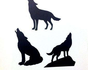 Howling wolf diecuts in any color set of 6
