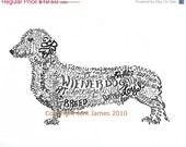 SALE Dachshund Art Print Wiener Dog Art Calligram Drawing, Wiener Dog Art Typography Illustration or Calligraphy Drawing Unique Pet Portrait