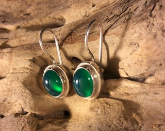 Green Agate Silver Earrings -2-