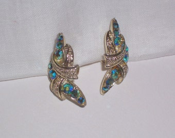 Vintage Coro Earrings with Blue Aurora Borealis Stones - Screw backs