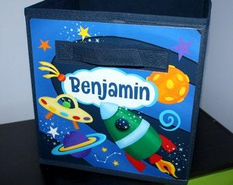 Outerspace Rocket Ship Fabric Bin Boy's Personalized Bedroom Nursery Organizer for Toys Clothing Storage Bin Tote Kids Organization FB0061