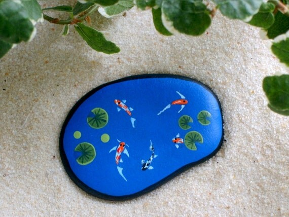 Koi fish pond miniature painted rocks diy fairy garden kit for Koi pond rocks